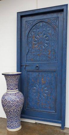 Medium size Handmade Moroccan blue door hand carved nomad moorish carved door good for your bedroom moroccan architectural wood work piece Moroccan Doors, Moroccan Home Decor, Moroccan Art, Moroccan Blue, Carved Door, Hand Carved, Built In Bar Cabinet, Pink Rug, Moorish