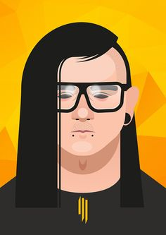 vector illustration Skrillex #Skrillex #sound #face #poster #illustration #vector #drawing #art #music #grammy #dubstep #owsla