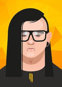 vector illustration Skrillex #Skrillex #sound #face #poster #illustration #vector #drawing #art #music #grammy #dubstep #owsla
