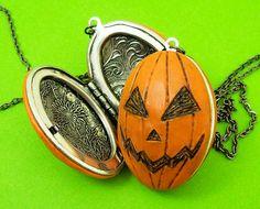 JackoLantern Locket with pumpkin guts inside by beatblack on Etsy, $35.00