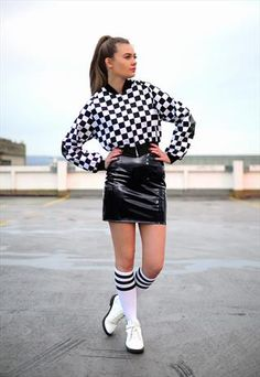 Patent PVC mini skirt - The Left Bank by Hardy Punglia Modern 60s Fashion, Monochrome, Leather Skirt, Asos, Mini Skirts, Black And White, Sweet, Fabric, Color