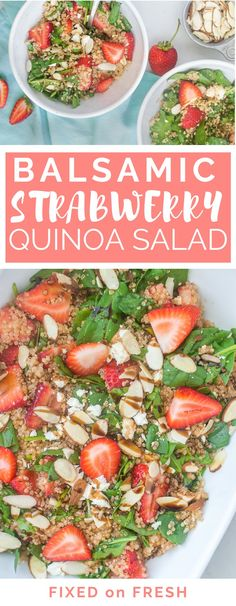 The best ever, easiest quinoa salad with strawberries, feta, almonds and spinach. A super healthy vegetarian salad or a great gluten free side dish!