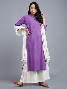 Buy Purple Handwoven Khadi Kurta Online at Jaypore.com Khadi Kurta, Kurti, Shopping Coupons, Kurta Designs, Hand Weaving, Chic, Purple, Sleeves, Cotton