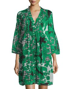 Layla+Printed+Long-Sleeve+Trapeze+Dress,+Toile+Collage+Green+by+Diane+von+Furstenberg+at+Neiman+Marcus+Last+Call.