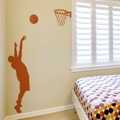 Our Basketball Player wall decal is perfect for any basketball fan! Our wall decals are ideal for offices, living rooms, entryways, classrooms, even your car or glass shower doors! Boys Basketball Bedroom, Basketball Wall, Basketball Cakes, Basketball Players, Boys Bedroom Decor, Male Bedroom, Bedroom Ideas, Bedroom Black, Bedroom Doors