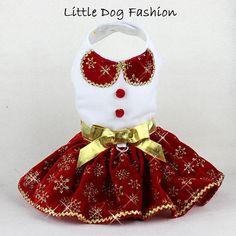 Christmas Dog Dress, Gold Snowflakes on Red Velvet