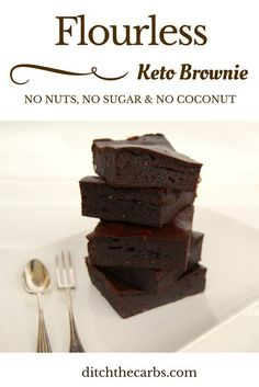 You simply have to try this flourless and nut free keto brownie. It has no added sugar, no coconut flour, no shredded coconut, no nuts and is simply the easiest thing to make, all using a stick blender! | http://ditchthecarbs.com
