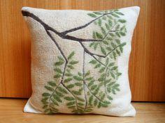 White cushion cover pillow cover organic wool hand от FilzFineFelt
