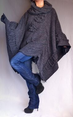 dark grey wool poncho coat from BoutiqueAlaMode on etsy