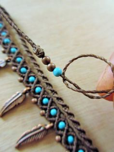 Macrame Brown and Turquoise Anklet Handmade Creation with copper feathers/beads…