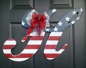 Items similar to Ornament Door Hanger on Etsy.... but I will just make my own. Love the patriotic look all year!