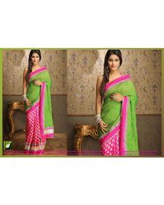 Hina Khan Green And Pink Bollywood Replica Saree
