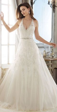 30d258307eb4 Fascinating Tulle V-neck Weeding Dress,Neckline A-line Wedding Dress With  Lace Appliques & Beading