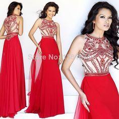 Free Shipping Hot Selling 2014 Sexy Red Beading Bodies Long Chiffon Evening Dress $149.00