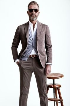 How to Wear a Brown Suit looks & outfits) Dapper Gentleman, Gentleman Style, Mens Fashion Blog, Men's Fashion, Fashion Menswear, Ray Ban Sunglasses Sale, Sunglasses 2016, Brown Suits, Mens Trends