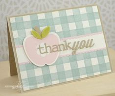 Apple Thank You Card by Nichole Heady for Papertrey Ink (August 2013)