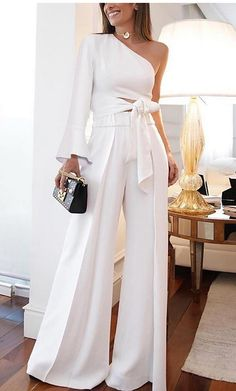 Women's White Jumpsuit Women Sexy Two Piece Set One Shoulder Long Sleeve Lace up Crop Top High Waist Wide Leg Pants Outfits 2020 - US $34.99 White Outfits, Classy Outfits, Glamorous Outfits, Dinner Outfit Classy, Classy Wear, Classy Clothes, Formal Outfits, Classy Style, Classy Chic