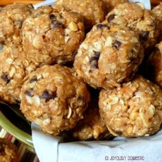 No-Bake Energy Bites - Oats, peanut butter, honey, coconut, vanilla and chocolate chips come together in these grab on-the-go snacks.  Add brewers yeast, flax seeds, etc.