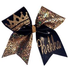 Persnalized Crown Black and Gold Monogrammed Cheer Bow by SouthernGirlsShoppe on Etsy https://www.etsy.com/listing/207565474/persnalized-crown-black-and-gold