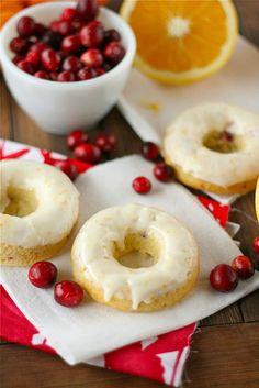 Cranberry Orange Donuts -- add 1/4 tsp cinnamon and 1/4 c. cranberry sauce, reduce sugar to 3/4 c.