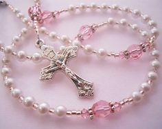 Tiny Little Pink and White Baby Girl Baptism Rosary by RosyCathy, $24.00