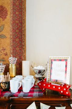 hot-chocolate-bar-at-bachelorette-party http://itgirlweddings.com/flannel-themed-bachelorette-party-weekend/