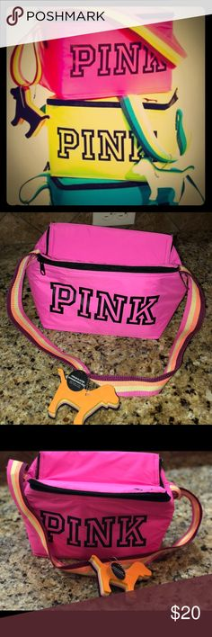 Victoria Secret . Pink cooler bag! New New Pink cooler with tag.  Has a small black stain that  happened during the process of storage.Offers accepted! Happy shopping! 😀 PINK Victoria's Secret Bags Totes