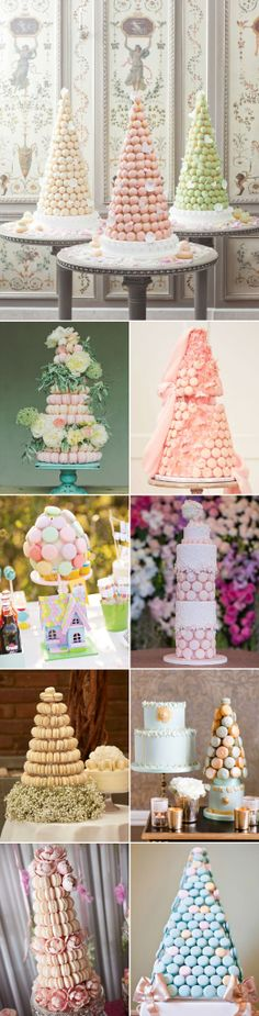 pastel wedding macaron tower