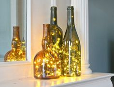 Put Christmas Lights in a Wine Bottle