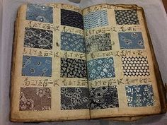 Antique Japanese kimono fabric pattern book