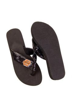 Oklahoma State Cowboys Flip Flops- Women's Logo Sequin Sandals