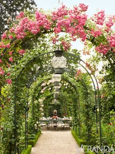 Allee of Roses Gatden Outdoor Dining Area - Caroline Scheufele Garden - Veranda Magazine