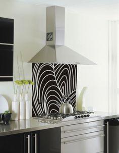glass backsplash = fun way to add color + pattern to kitchen