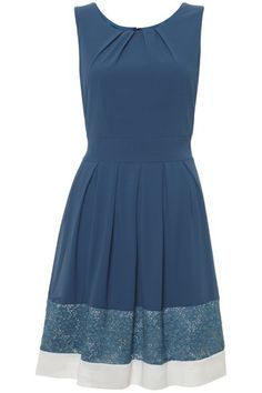 Teal Lace Edge Structured Dress in DRESSES from Apricot