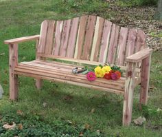 bench is constructed of red cedar that was cut, sawn on a TimberKing band saw mill, and cured from our farm. Other good softwoods for the project include redwood, Western white cedar and cypress. The hardwoods, such as oak or ash will also make a classic bench. Directions on site.
