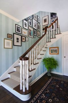 Staircase Art Wall, Striped Wallpaper, Entry Hall. Interior Design By Anna  Hackathorn,