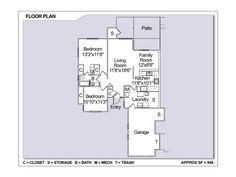 Navy Region Hawaii – Moanalua Terrace Neighborhood:  2 bedroom 1 bath town home floor plan.