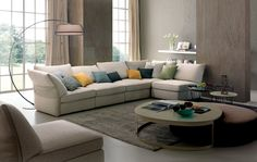 Valenza Sectional by Chateau D'ax, Italy. Shown in fabric. Visit website for customization options.