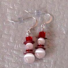 Snowman Earrings, Red Swarovski Crystal Earrings, Holiday Jewelry, Winter Earrings - $12 on Etsy