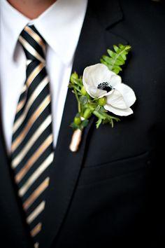 Black and white flower groom