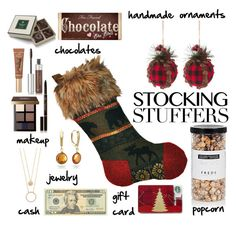 """""""For Your Stocking"""" by youaresofashion ❤ liked on Polyvore featuring Too Faced Cosmetics, FREDS at Barneys New York, Anastasia Beverly Hills, Bobbi Brown Cosmetics, DaVonna, Kate Spade, Charbonnel et Walker, OPTIONS, giftguide and stockingstuffers"""