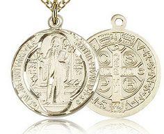 14kt Gold Filled St Bernadette Pendant Gold Plate Heavy Curb Chain Patron Saint Illness//Poverty 1 x 3//4