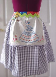 ****cute apron****-----Inspiration!!----Wonderful way to use my inherited scarfs that my Grandmother made!!..N.R.