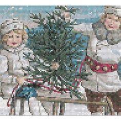 Victorian Winter Scene/Children Sledding Counted Cross Stitch Pattern