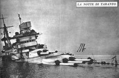 La corazzata Conte di Cavour, appoggiata sul fondo dopo essere stata colpita dai siluri dei velivoli inglesi a Taranto, nonostante tutti gli sforzi fatti  non sarebbe praticamente più rientrata in servizio fino alla fine della guerra