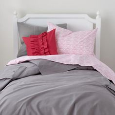 The Land of Nod | Boys Bedding: Grey Cargo Pocket Bedding Set in Girl Bedding