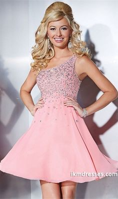 273917cb85b Cheap One Shoulder Coral A Line Hannah S 27861 Sequined Homecoming Dress