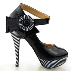 Show Story Sexy Flower Ankle Strap Stripe Stiletto Platform Pumps Shoes,LF30404 - { Buy Now: $34.99 ]  Eye catching amazing Patent material. Further enhanced by its feature of a white and black flower and a delightful ankle strap. Platform high heel design with black and white srtipe covered. Product Features  These trendy pumps feature a two tone color look. #Shoes