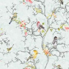 Statement Ornithology Birds Metallic Wallpaper - B&Q for all your home and garden supplies and advice on all the latest DIY trends Metallic Wallpaper, White Wallpaper, Wall Wallpaper, Pattern Wallpaper, Duck Egg Blue Wallpaper, Bird Wallpaper Bedroom, Bird Bedroom, Feature Wallpaper, Botanical Wallpaper