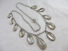 Moonstone sterling silver dangling pendant necklace antique edwardian rkw00126